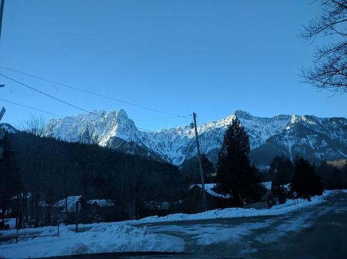 Snowy mountains around the town