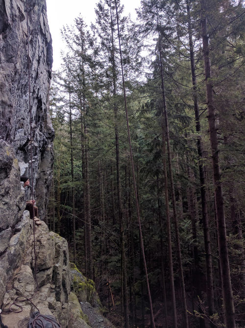Wet weekend climbing at exit 32 with Cooper