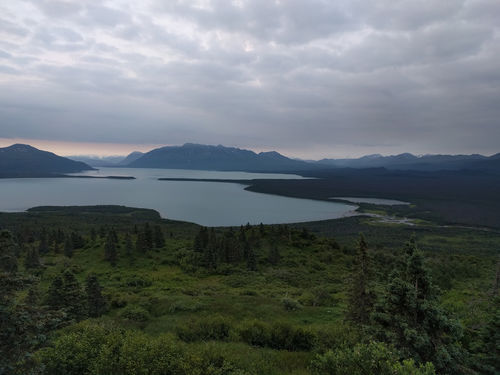 Inorder to legally camp in Katmai we were required to be 1.5miles away from Brook's lodge area.  We decided to hike up Dumpling mountain to catch some views and camp up top.  It was a lot more intense than we thought it would be..